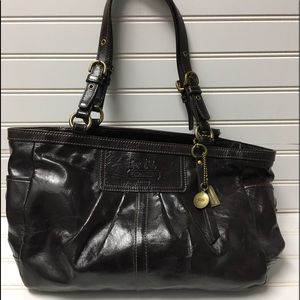 Coach East Bag Dark Brown Patent, 12730